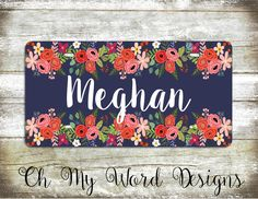 Personalized Car Tag-Personalized License Plate-Monogram Car Tag-Monogrammed License Plate-Flower Car Tag by OhMyWordDesigns on Etsy https://www.etsy.com/listing/265924569/personalized-car-tag-personalized