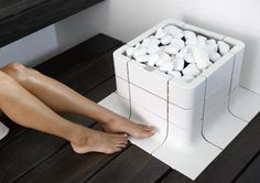 A great piece of product design from Eastern Finland, the all white Nuoska sauna stove. Contemporary Saunas, Electric Sauna Heater, Portable Steam Sauna, Sauna Design, House On Wheels, Home Appliances, Stove, Sauna Ideas, Product Design
