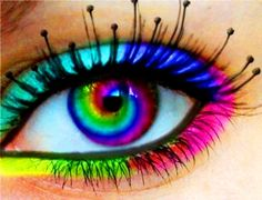 Cheap Colored Contact Lenses – Want to change your eye-color? Rainbow Eyes, Rainbow Makeup, Rainbow Swirl, Neon Rainbow, Rainbow Brite, Rainbow Colors, Pretty Eyes, Cool Eyes, Beautiful Eyes
