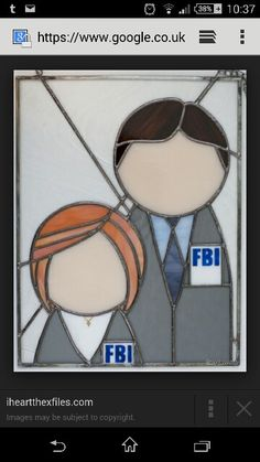 Mulder and Scully stained glass photo