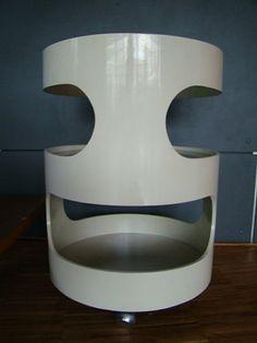 Colani Design opal side table, white Space Age Era