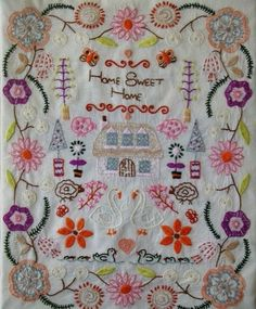 Home Sweet Home embroidery floral (maker/era?)