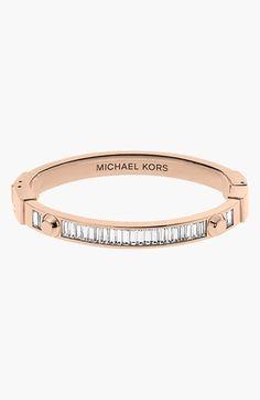 Michael Kors Astor Baguette Rose Gold-Tone Bangle  Love the rose gold look and the classy baguette crystals! Cartier Love Bracelet, Bracelet Set, Michael Kors Jewelry, Trendy Necklaces, Latest Jewellery, I Love Jewelry, Jewelry Box, Baguette, Jewelry Accessories