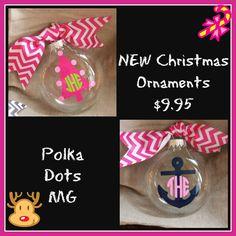 Preppy Monogrammed Anchor Christmas Tree Ornaments by polkadotsmg, $9.95