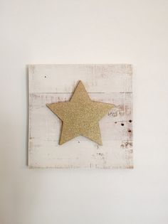 Gold Glitter Star on White Reclaimed Wood Sign/Star by CleverGoose
