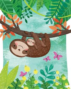 "155 Likes, 28 Comments - Gina Maldonado (@cocogigidesign) on Instagram: ""Mum and baby sloths for #colour_collective #nursery #wallart"""