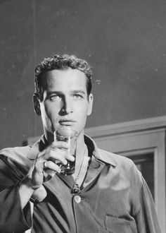 "Paul Newman on the set of ""Cat on a Hot Tin Roof"" (1958)"