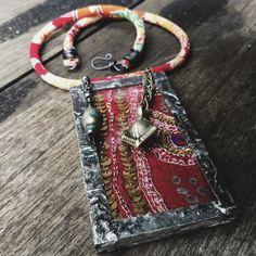 Quisnam - Soldered glass embroidered sari textile necklace | multi media necklace, textile necklace, boho necklace, gypsy necklace, framed textile