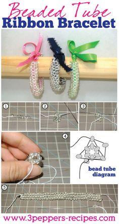 Beaded Tube Ribbon Bracelet Tutorial #diy #tutorial #bracelet #jewelry