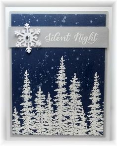 White embossed trees on navy...so pretty! Scrappin' and Stampin' in GJ