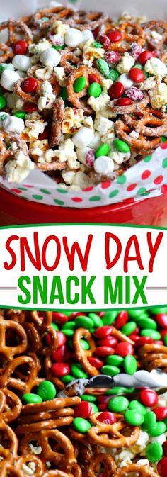 This wonderfully festive Snow Day Snack Mix is the perfect easy treat all winter long! Both sweet and salty, this holiday snack mix is great for Christmas, movie nights, parties, gifts and so much more! // Mom On Timeout #christmas #dessert #snack #pretzels #marshmallows #redandgreen #momontimeout