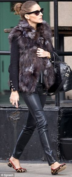 Olivia Palermo chic in fur and Givenchy