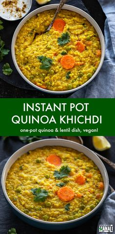 Instant Pot Quinoa Khichdi, one-pot wholesome meal made with quinoa, lentils and veggies! It's nutritious, filling, comforting and good for you! via pot recipes indian Instant Pot Quinoa Khichdi Pea Recipes, Lentil Recipes, Indian Food Recipes, Healthy Recipes, Indian Snacks, Healthy Indian Recipes Vegetarian, Dinner Recipes, Healthy Indian Food, Recipes With Quinoa