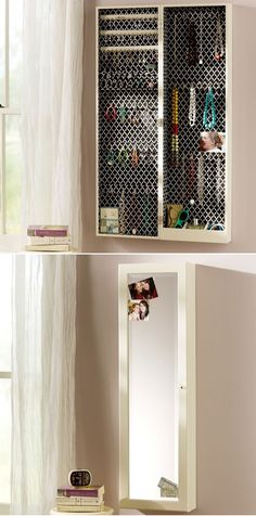 """Chloe Wall Mirror Jewelry Storage from PB Teen - Overall: 14"""" wide x 7"""" deep x 48"""" high - Mirror Section: 10"""" wide x 44"""" high"""