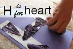h is for heart, potato stamping Letter H Activities, Fun Activities For Kids, Preschool Activities, Alphabet Letter Crafts, Alphabet Book, Learning Letters, Kids Learning, Potato Stamp, Abc For Kids