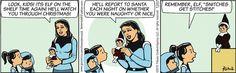 Naughty listers: Beware the Elf on the Shelf...   Read Brewster Rockit #comics @ http://www.gocomics.com/brewsterrockit/2015/12/07?utm_source=pinterest&utm_medium=socialmarketing&utm_campaign=social   #GoComics #webcomic #Christmas #ElfOnAShelf