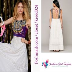"""FREE PEOPLE Maxi Dress Ethnic Romance Embroidered Size 6. Perfect Condition.  $298.00  Intricately lined embroidered dress with eyelet detailing.  Open back with elastic band.  Side zip.  *100% Cotton   Measurements for Size 6: Bust: 37""""  Length: 57""""  ❗️ Please - no trades, PP, holds, or Modeling.   ✔️ Reasonable offers considered when submitted using the blue """"offer"""" button.    Bundle 2+ items for a 20% discount!    Stop by my closet for even more items from this brand! Free People Dresses…"""