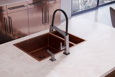 Delta Faucet - Pivotal Collection A modern, sleek kitchen in copper & walnut. Taking things to the next level! Bright Pillows, Delta Faucets, Contemporary Interior Design, Kitchen Cabinetry, Architecture Details, Design Model, Copper, Modern, Home Decor
