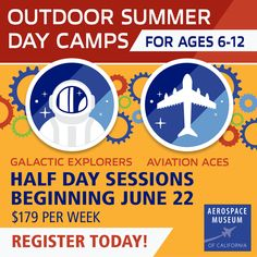 The Aerospace Museum of California is hosting half-day, socially distanced summer day camps this year for rising 1st to rising 6th graders, beginning on June 22nd! We're offering 2 different camps this summer: Galactic Explorers Space Camp and  Aviation Aces Flight Camp.   They have designed the camps to meet state and county COVID-19 health guidelines to keep everyone safe while still giving kids an amazing, hands-on STEAM experience. Camps are $179 per week.