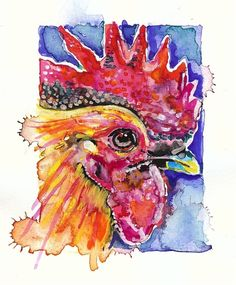 Rooster (Chicken) -- Artist Signed Watercolor Print