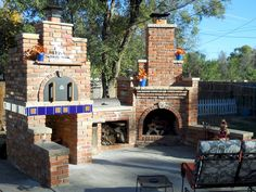 A picture-perfect example of an Outdoor Fireplace, BBQ and Brick Oven.. Just Perfect!  If you are building an outdoor patio - be inspired!  BrickWoodOvens.com