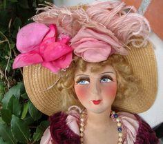 Antike Puppe Rosa Granat Boudoir/französische Boudoir Doll / Antique Doll