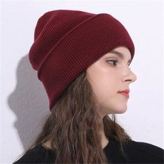 c1a24f70629 Plain gray knit beanie hat for women casual winter baggy wooly hats