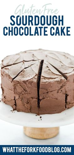 Use the discard from your sourdough starter to make this gluten free Sourdough Chocolate Cake! It's an ultra-moist cake with a deep, rich chocolate flavor. Top it with the silky smooth chocolate buttercream frosting and it's the ultimate chocolate cake! This is the best kind of zero waste recipe! Gluten Free Chocolate Cake recipe from @whattheforkblog - visit whattheforkfoodblog.com for more tried-and-true gluten free dessert recipes, gluten free cake recipes, and sourdough discard recipes. Easy No Bake Desserts, Best Dessert Recipes, Gluten Free Desserts, Gluten Free Chocolate, Chocolate Flavors, Chocolate Recipes, Sourdough Chocolate Cake Recipe, Ultimate Chocolate Cake, Chocolate Buttercream