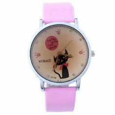 """""""Time Flies So Fast"""" Quartz Wrist Watch Cat Women """"Time Flies So Fast"""" Quartz Wrist Watch Pink  Beautiful Quartz Wrist Watch With a Pastel Pink Band. Face has a Kitty Cat Front and Center, for us that are cat lovers, this is the perfect time piece! Get yours today!   Detailed Description :   Case Material: Alloy + Glass Band Material: Leather Movement: Quartz Shape of Dial: Round Color: Pink  Case Diameter: 4cm  Width of Watch: 2cm Jewelry"""