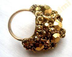 Кольцо HOLLYCRAFT цвет горячего золота высокое