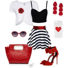 """Red White and Black"" by julz28520 on Polyvore"