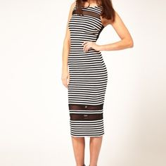 ASOS Stripe Midi Dress Black and white stripe midi dress with mesh inserts and cutout back. Only worn once! ASOS Dresses Midi