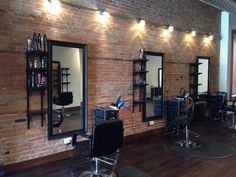 Styling stations on our brick wall. Barber Shop Interior, Hair Salon Interior, Barber Shop Decor, Salon Interior Design, Salon Design, Home Beauty Salon, Beauty Salon Decor, Salon Stations, Styling Stations