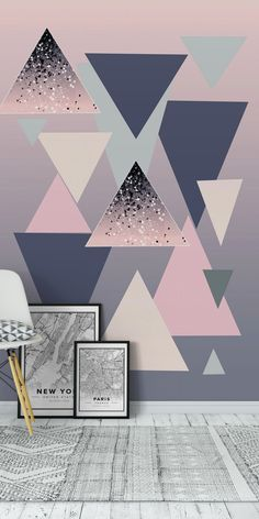 Ideas wallpaper accent wall geometric triangles for 2019 Blue Girls Rooms, Girls Room Paint, Bedroom Girls, Master Bedroom, Bedroom Wall Designs, Accent Wall Bedroom, Accent Walls, Geometric Wall Paint, Geometric Triangle Wallpaper