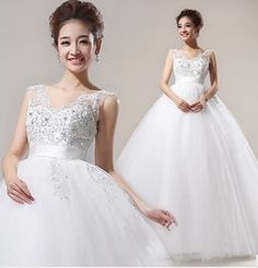 2013 V-neck High Waist Wedding Gown #ShopSimple