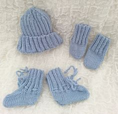 HAND KNIT Premature Baby Set, Knit Tiny Baby, Set of Hat, Booties, Mittens, Blue Knit Baby Set, Premature  Boy,  Preemmie Knit, Size Prem 1 by heaventoseven on Etsy