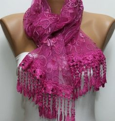 Pink Sequin White Women Shawl Scarf Cowl Scarf Want Cute Lace Scarves Need Fashion Shawl Headband Gift Valentine's by Fatwoman Scarf