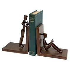 "Brimming with artful poise and captivating elegance, this beautifully crafted piece brings sculptural intrigue to your bookcase, mantel, or console.   Product: Set of 2 bookendsConstruction Material: IronColor: BronzeDimensions: 6.25"" H x 10.25"" W x 3"" DCleaning and Care: Dust with a soft cloth"