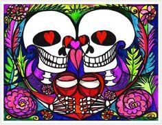11x14 Celebration of Love Toast Muertos Skull Art Print Artisan Courtyard http://www.amazon.com/dp/B00KBTIEMQ/ref=cm_sw_r_pi_dp_Owekvb0TE1JD8