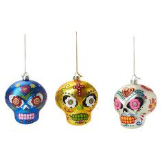 Sugar Skull Ornament Set Of 3, $14, now featured on Fab.