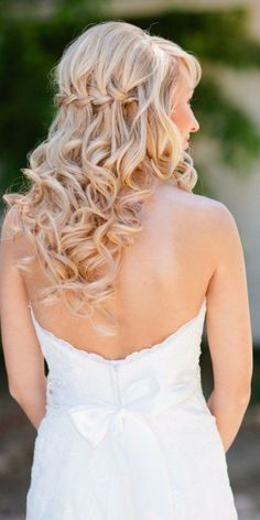 Curly Braided Half Updo Style---waterfall braid with curls Wedding Hairstyles For Long Hair, Wedding Hair And Makeup, Down Hairstyles, Pretty Hairstyles, Bridal Hairstyles, Hairstyle Ideas, Hair Ideas, Homecoming Hairstyles, Summer Hairstyles