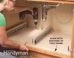 How to Build Kitchen Sink Storage Trays - Step by Step: The Family Handyman The Family Handyman, Kitchen Redo, Kitchen Storage, Kitchen Sinks, Cabinet Storage, Cabinet Drawers, Pantry Shelving, Cabinet Ideas, Wood Projects