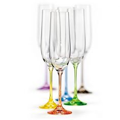 Bohemian Crystal Rainbow Set of 6 Champagne Flutes Crystal Glasses 65 Oz Each Stem Different Color Czech Republic LEAD FREE by Crystalex *** Be sure to check out this awesome product. Crystal Champagne, Champagne Glasses, Sparkling Wine, Crystal Glassware, Highball Glass, Rainbow Colors, Different Colors, Wine Glass, Crystals