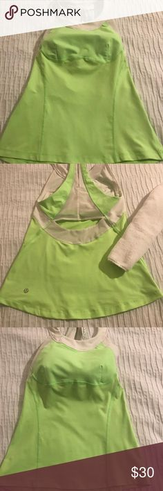 🧘🏼♀️Lululemon Lime Tank - Size 6 Lululemon Lime Razor Back Exercise Sculpt Tank - Size 6. Very good condition (see photos). White lining. Does not come with pads. lululemon athletica Tops