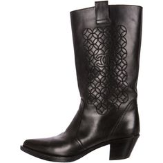 Chanel Embroidered Western Boots ($595) ❤ liked on Polyvore featuring shoes, boots, black, black boots, leather cowboy boots, black leather boots, real leather boots and genuine leather boots