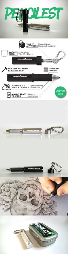 https://www.kickstarter.com/projects/hundredmillion/the-pencilest-edc-compact-mechanical-pencil  The Pencilest is a full size 2.0mm mechanical pencil which collapses down to the size of a disposable lighter. Made from anodised CNC aluminium; it's durable enough to live on your keyring or in the bottom of your bag as the perfect EDC tool – always ready to break out when creativity or inspiration strike. Create anything, anywhere. No ink, no batteries, no boundaries.