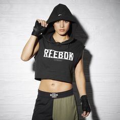 Reebok Train Like A Fighter Sleeveless Hoodie (€55) ❤ liked on Polyvore featuring apparel and reebok