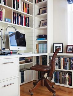 43 Inspiring And Thoughtful Home Office Storage Ideas : Home Office Storage Ideas With White Wall Wooden Storage Cabinet Window Chair Desk Mac Computer Bookcase Hardwood Floor