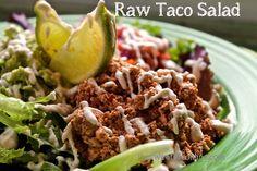 "Refreshing raw vegan tacos made with seasoned walnut taco ""meat"", fresh pico de gallo, and homemade cashew sour cream."