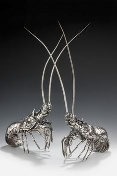 1960 MAGNIFICENT AND EXCEPTIONALLY RARE PAIR OF SILVER BUCCELLATI LOBSTERS   #TuscanyAgriturismoGiratola